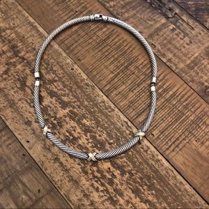 "Jewelry - 12"" Cable wire Choker with 14k X Accents"